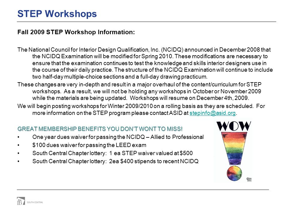 STEP Workshops Fall 2009 STEP Workshop Information: The National Council for Interior Design Qualification, Inc. (NCIDQ) announced in December 2008 th