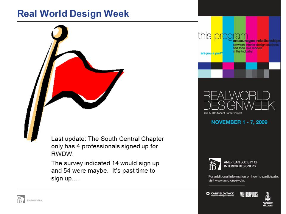 Real World Design Week Last update: The South Central Chapter only has 4 professionals signed up for RWDW. The survey indicated 14 would sign up and 5