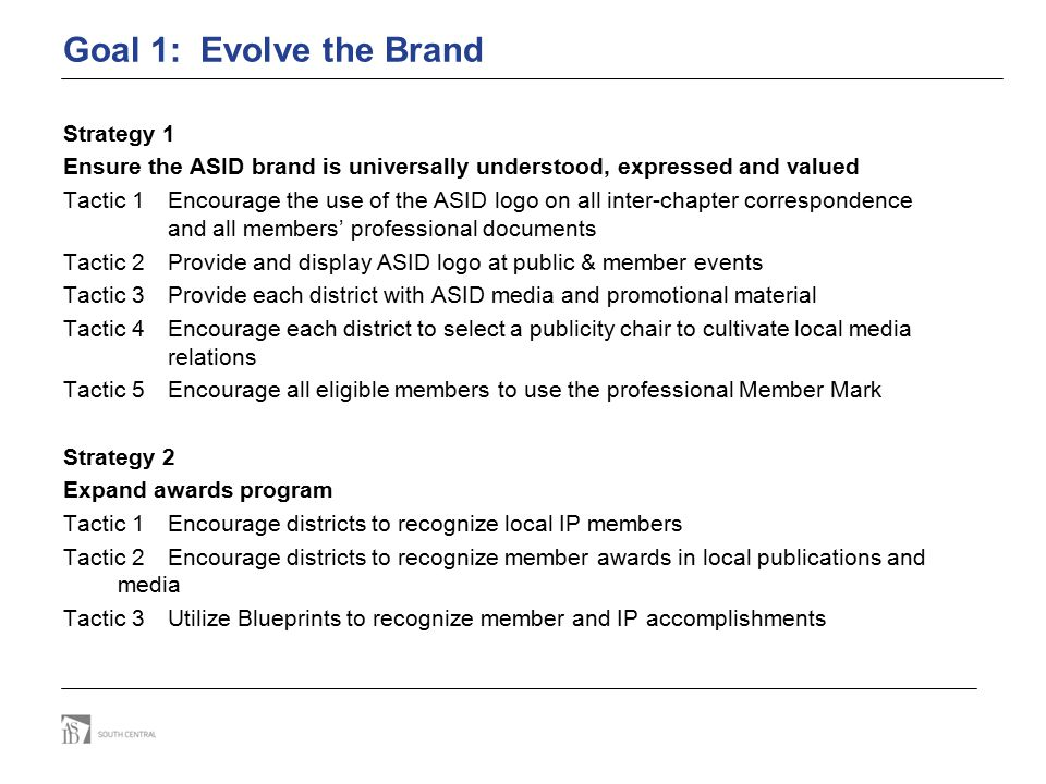 Goal 1: Evolve the Brand Strategy 1 Ensure the ASID brand is universally understood, expressed and valued Tactic 1Encourage the use of the ASID logo o