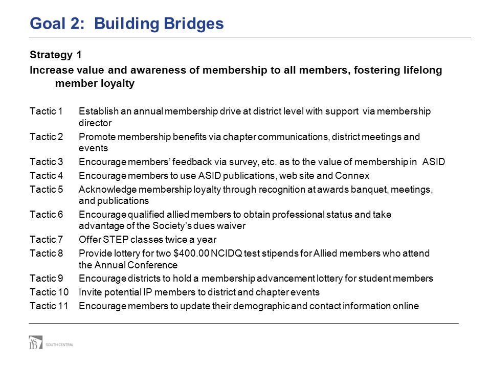 Goal 2: Building Bridges Strategy 1 Increase value and awareness of membership to all members, fostering lifelong member loyalty Tactic 1 Establish an annual membership drive at district level with support via membership director Tactic 2Promote membership benefits via chapter communications, district meetings and events Tactic 3 Encourage members' feedback via survey, etc.