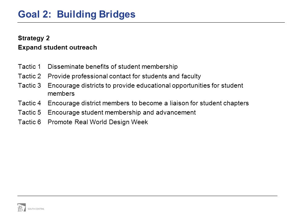 Goal 2: Building Bridges Strategy 2 Expand student outreach Tactic 1 Disseminate benefits of student membership Tactic 2 Provide professional contact