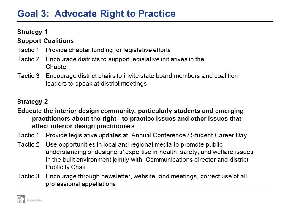 Goal 3: Advocate Right to Practice Strategy 1 Support Coalitions Tactic 1Provide chapter funding for legislative efforts Tactic 2Encourage districts t