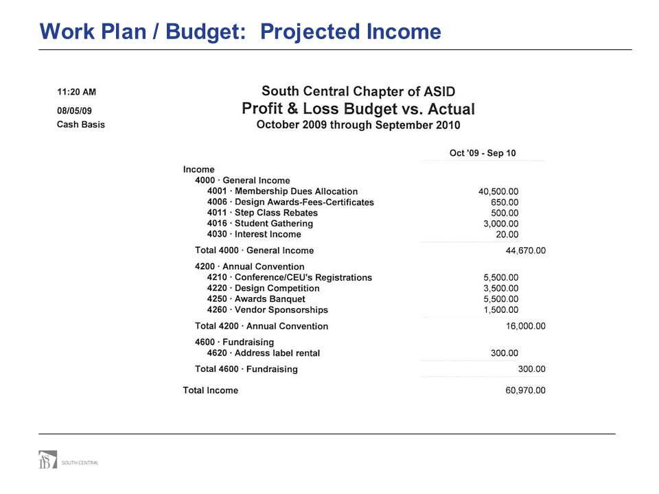Work Plan / Budget: Projected Income