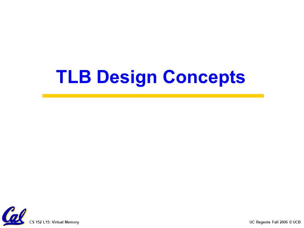 CS 152 L15: Virtual MemoryUC Regents Fall 2006 © UCB TLB Design Concepts