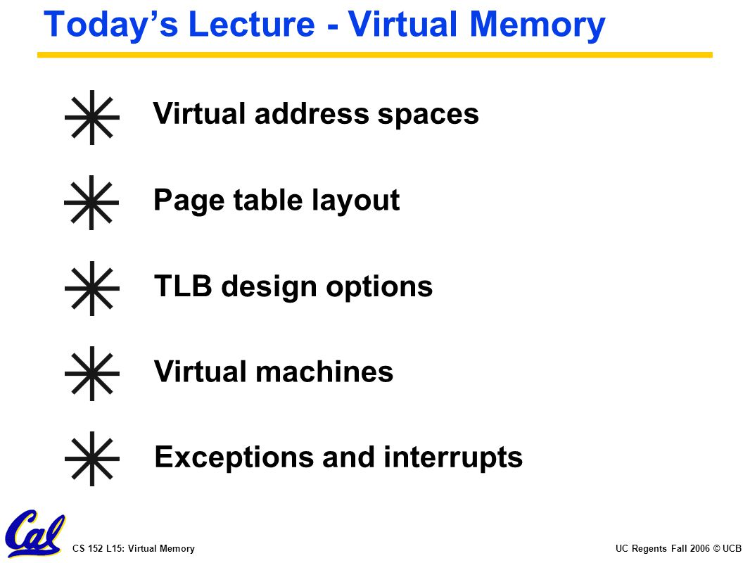 UC Regents Fall 2006 © UCBCS 152 L15: Virtual Memory Today's Lecture - Virtual Memory Virtual address spaces Page table layout TLB design optionsVirtual machinesExceptions and interrupts