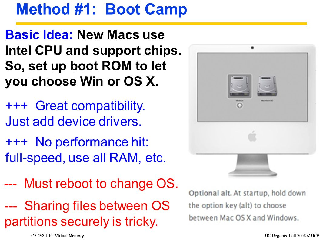 CS 152 L15: Virtual MemoryUC Regents Fall 2006 © UCB Method #1: Boot Camp Basic Idea: New Macs use Intel CPU and support chips.