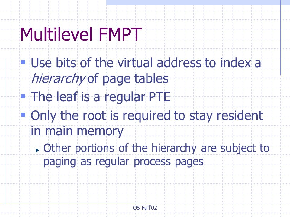OS Fall'02 Multilevel FMPT  Use bits of the virtual address to index a hierarchy of page tables  The leaf is a regular PTE  Only the root is required to stay resident in main memory Other portions of the hierarchy are subject to paging as regular process pages