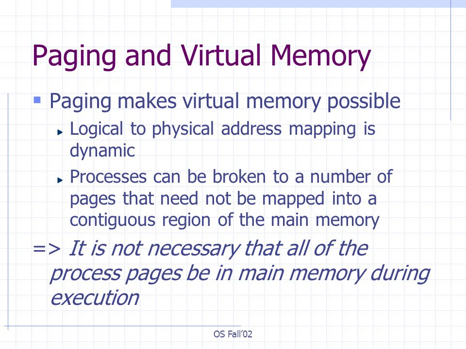 OS Fall'02 Paging and Virtual Memory  Paging makes virtual memory possible Logical to physical address mapping is dynamic Processes can be broken to a number of pages that need not be mapped into a contiguous region of the main memory => It is not necessary that all of the process pages be in main memory during execution