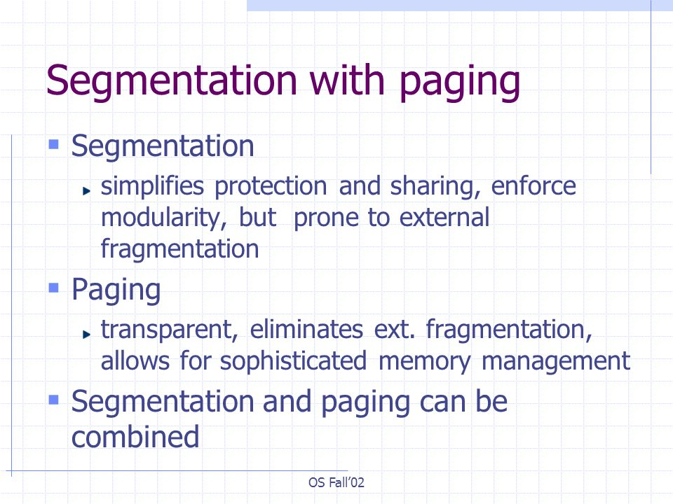 OS Fall'02 Segmentation with paging  Segmentation simplifies protection and sharing, enforce modularity, but prone to external fragmentation  Paging transparent, eliminates ext.