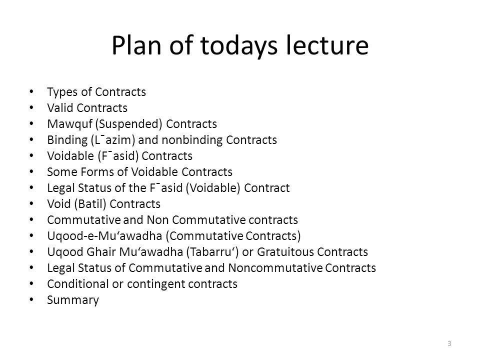 Plan of todays lecture Types of Contracts Valid Contracts Mawquf (Suspended) Contracts Binding (L¯azim) and nonbinding Contracts Voidable (F¯asid) Con