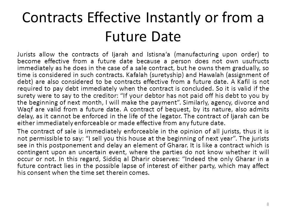 CONDITIONAL OR CONTINGENT CONTRACTS Valid conditions are those that confirm the effects attributed to juridical acts by the Shar¯ı´ah and which are admitted explicitly by it, such as the option of stipulation (Khiyar al-Shart) reserved for a party to revoke or ratify a contract within specified days.