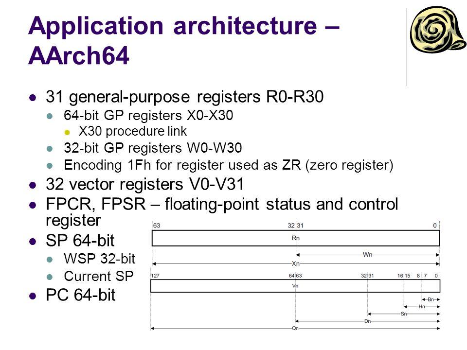 Application architecture – AArch64 31 general-purpose registers R0-R30 64-bit GP registers X0-X30 X30 procedure link 32-bit GP registers W0-W30 Encoding 1Fh for register used as ZR (zero register) 32 vector registers V0-V31 FPCR, FPSR – floating-point status and control register SP 64-bit WSP 32-bit Current SP PC 64-bit