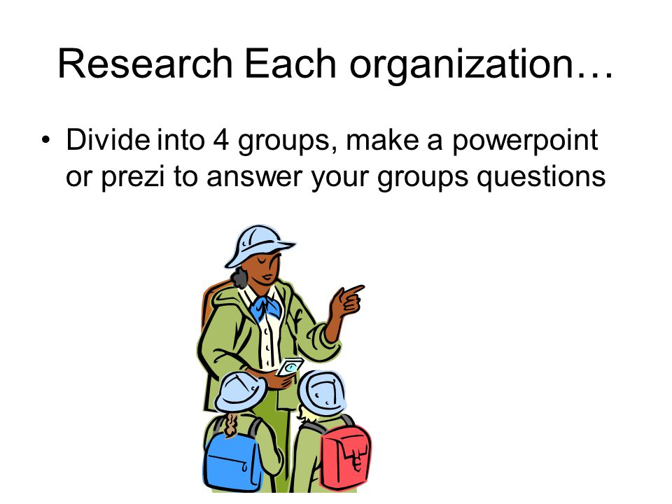 Research Each organization… Divide into 4 groups, make a powerpoint or prezi to answer your groups questions
