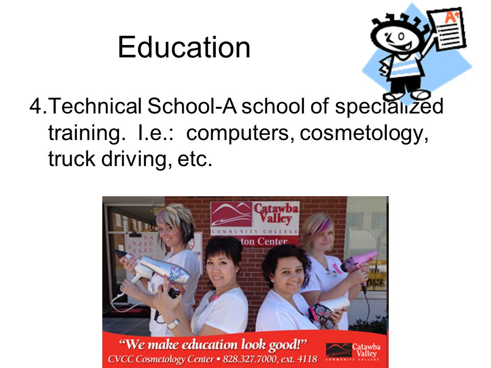 Education 4.Technical School-A school of specialized training.