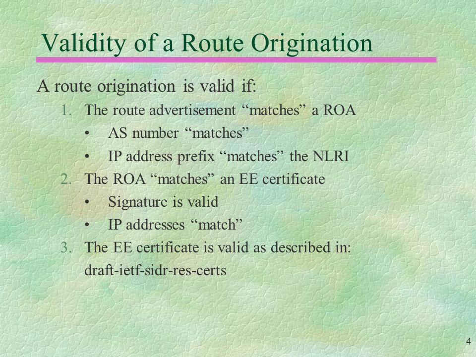 5 Route Origination Validation RIR (CA) Subscriber (CA) Subscriber (shadow) ROA Route Advertisement 3.