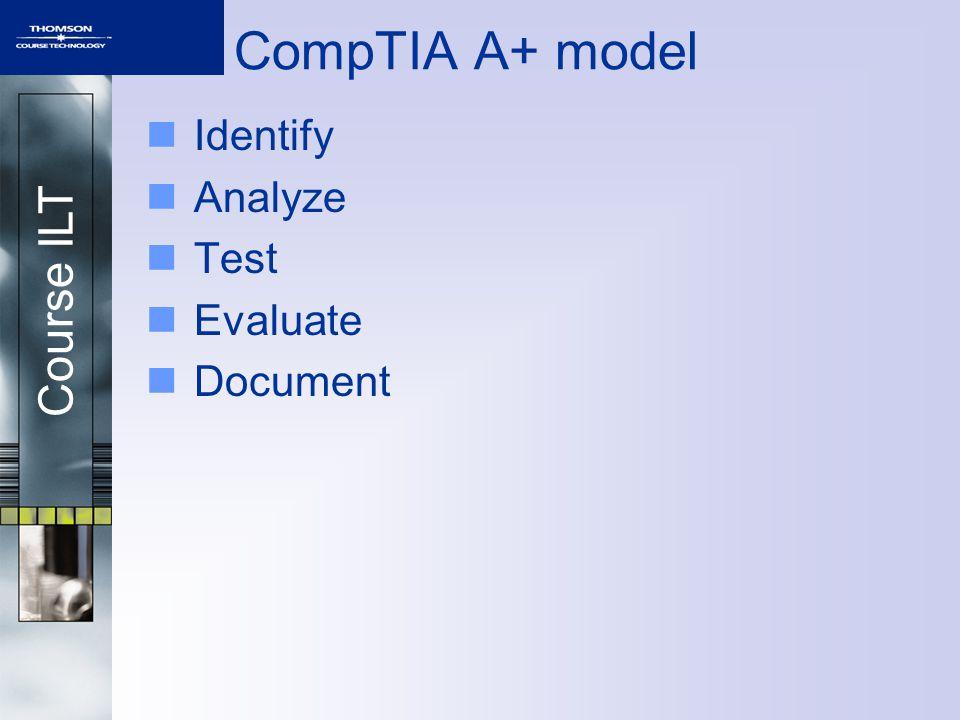 Course ILT CompTIA A+ model Identify Analyze Test Evaluate Document