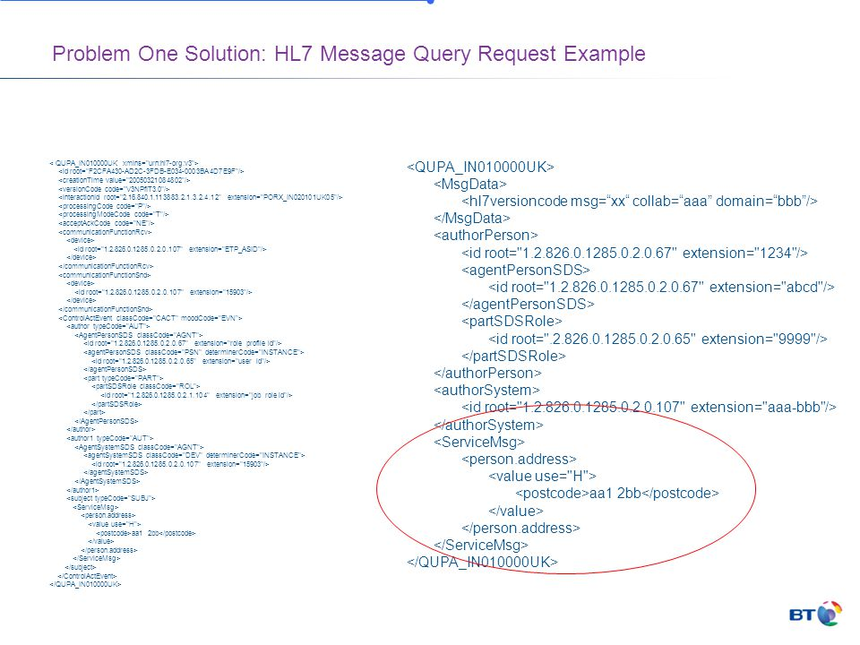 Problem One Solution: HL7 Message Query Request Example aa1 2bb aa1 2bb