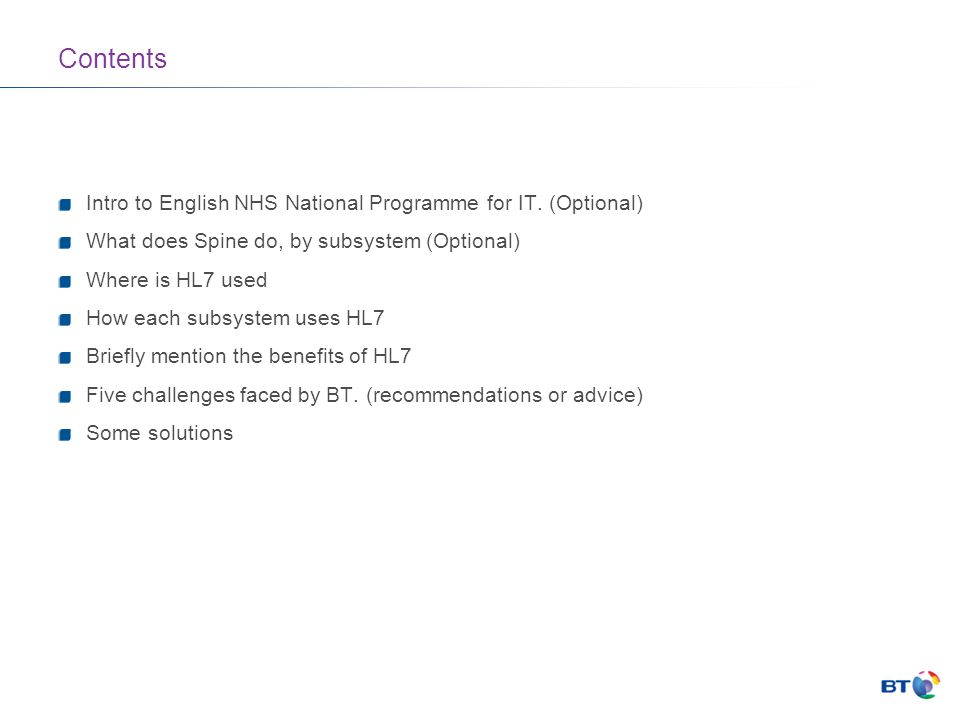 Contents Intro to English NHS National Programme for IT.