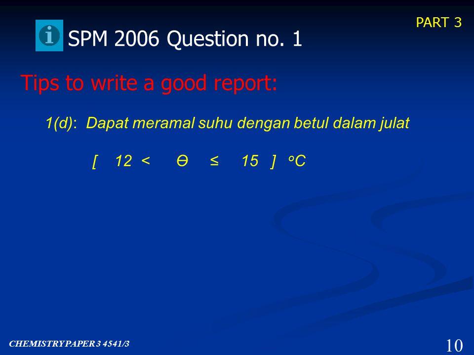 PART 3 9 SPM 2006 Question no. 1 1(c): Dapat memberikan idea hipotesis dengan betul.
