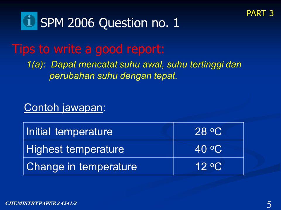 PART 3 Past SPM Question Scoring Scoring SPM Paper 3 2006 4 CHEMISTRY PAPER 3 4541/3 Question No.