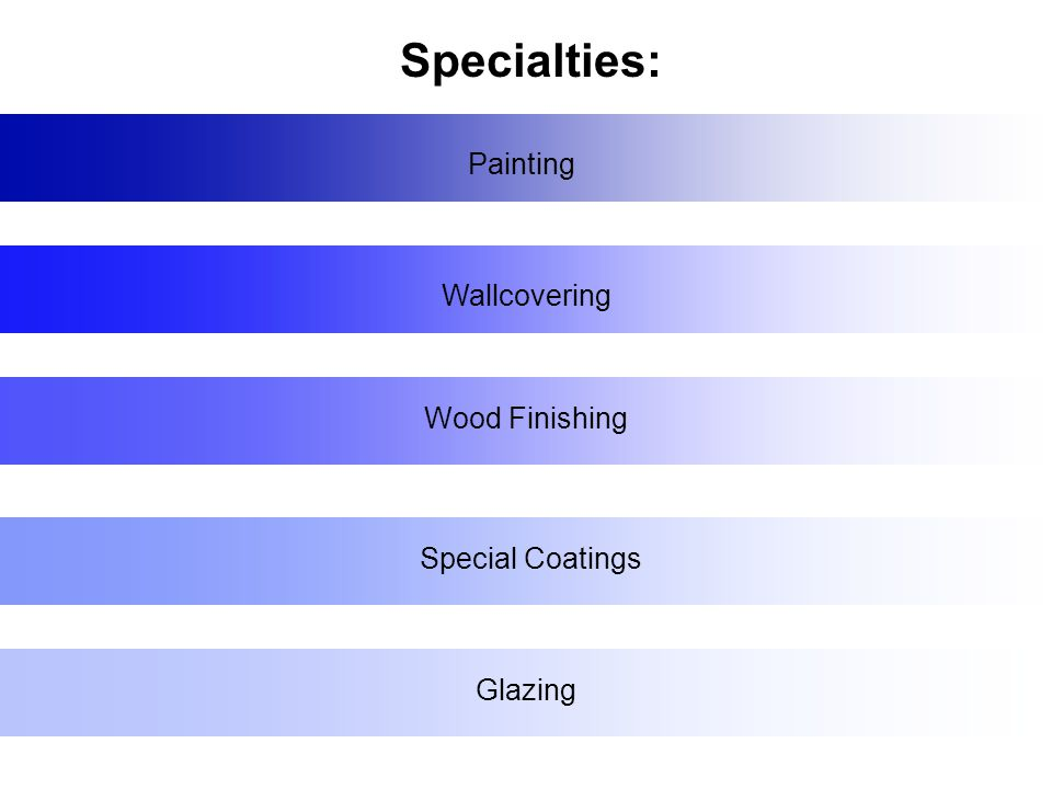 Painting Wallcovering Wood Finishing Special Coatings Glazing Specialties: