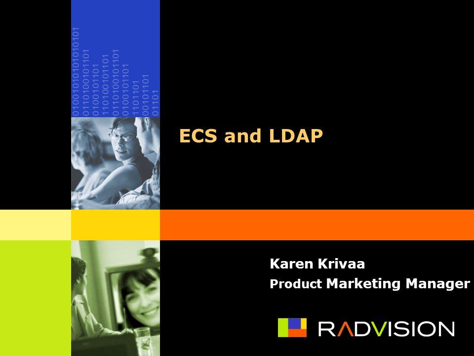 ECS and LDAP Karen Krivaa Product Marketing Manager