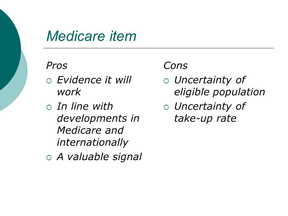 Medicare item Pros  Evidence it will work  In line with developments in Medicare and internationally  A valuable signal Cons  Uncertainty of eligible population  Uncertainty of take-up rate