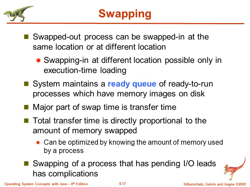 8.17 Silberschatz, Galvin and Gagne ©2009 Operating System Concepts with Java – 8 th Edition Swapping Swapped-out process can be swapped-in at the sam