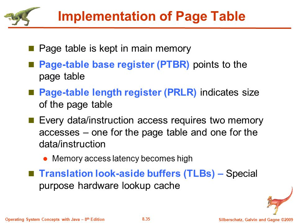 8.35 Silberschatz, Galvin and Gagne ©2009 Operating System Concepts with Java – 8 th Edition Implementation of Page Table Page table is kept in main m