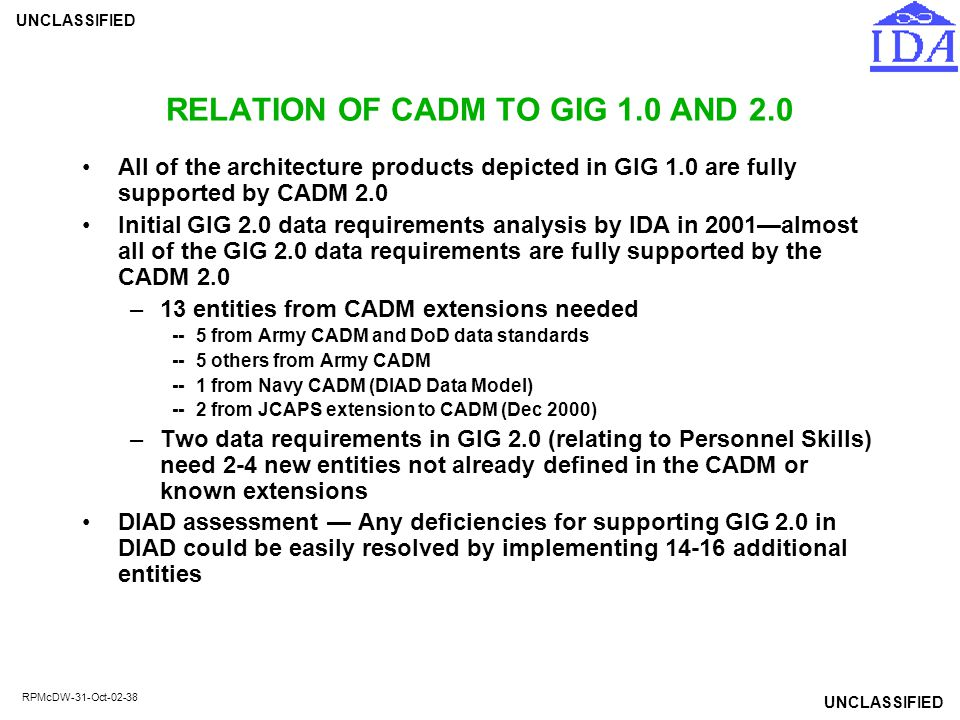 UNCLASSIFIED RPMcDW-31-Oct-02-38 RELATION OF CADM TO GIG 1.0 AND 2.0 All of the architecture products depicted in GIG 1.0 are fully supported by CADM