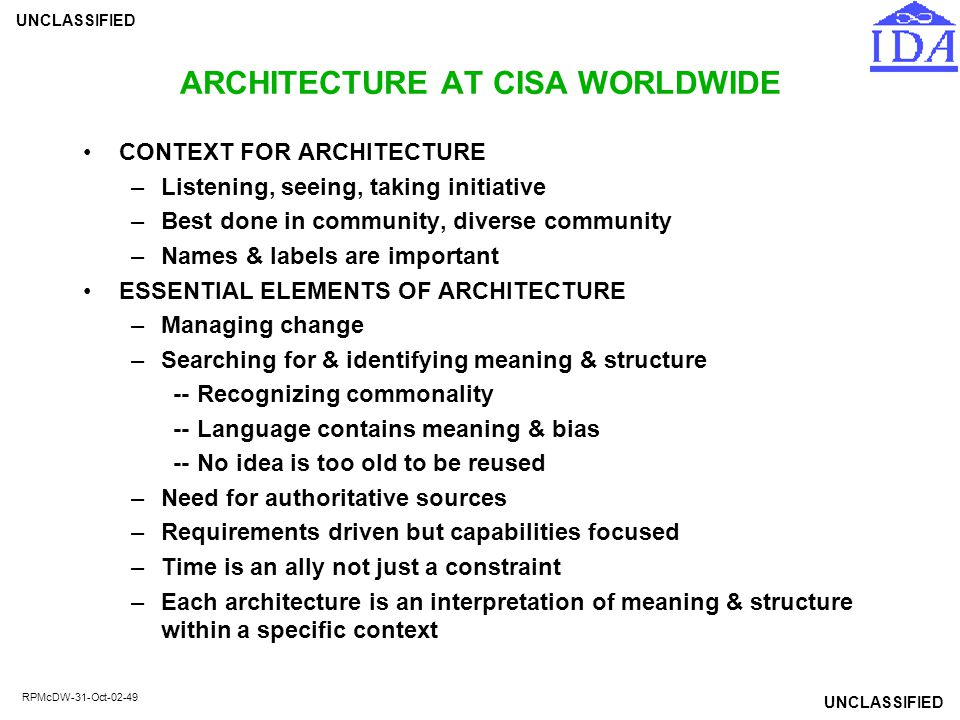 UNCLASSIFIED RPMcDW-31-Oct-02-49 ARCHITECTURE AT CISA WORLDWIDE CONTEXT FOR ARCHITECTURE –Listening, seeing, taking initiative –Best done in community
