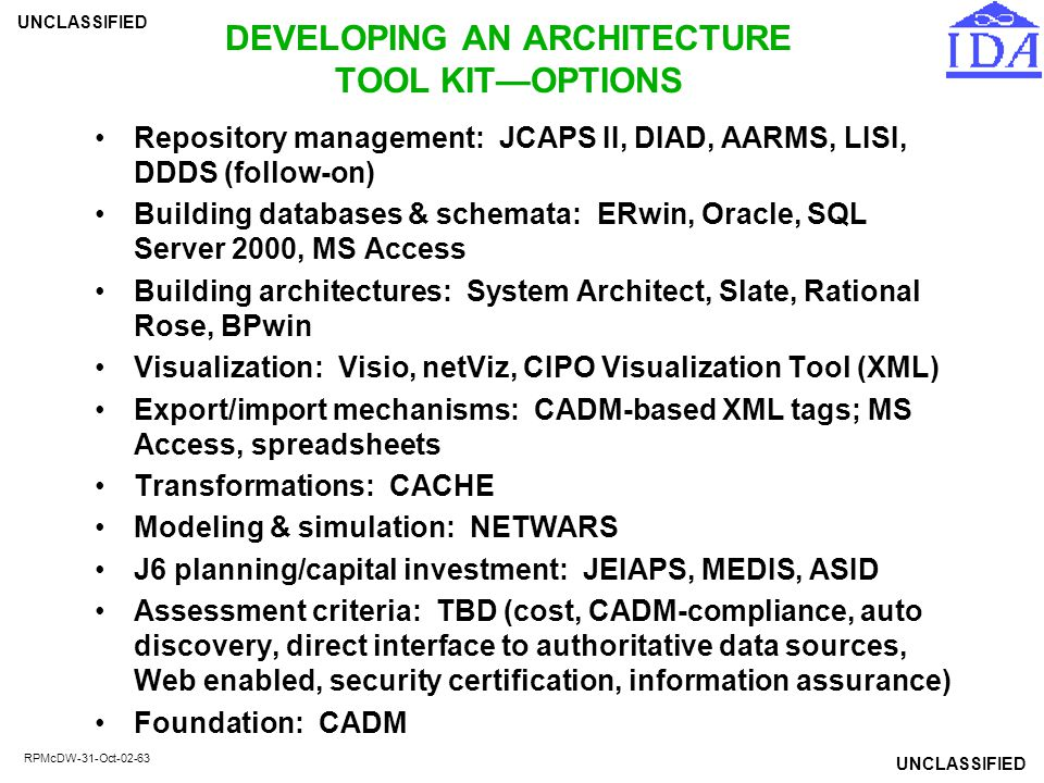 UNCLASSIFIED RPMcDW-31-Oct-02-63 DEVELOPING AN ARCHITECTURE TOOL KIT—OPTIONS Repository management: JCAPS II, DIAD, AARMS, LISI, DDDS (follow-on) Buil