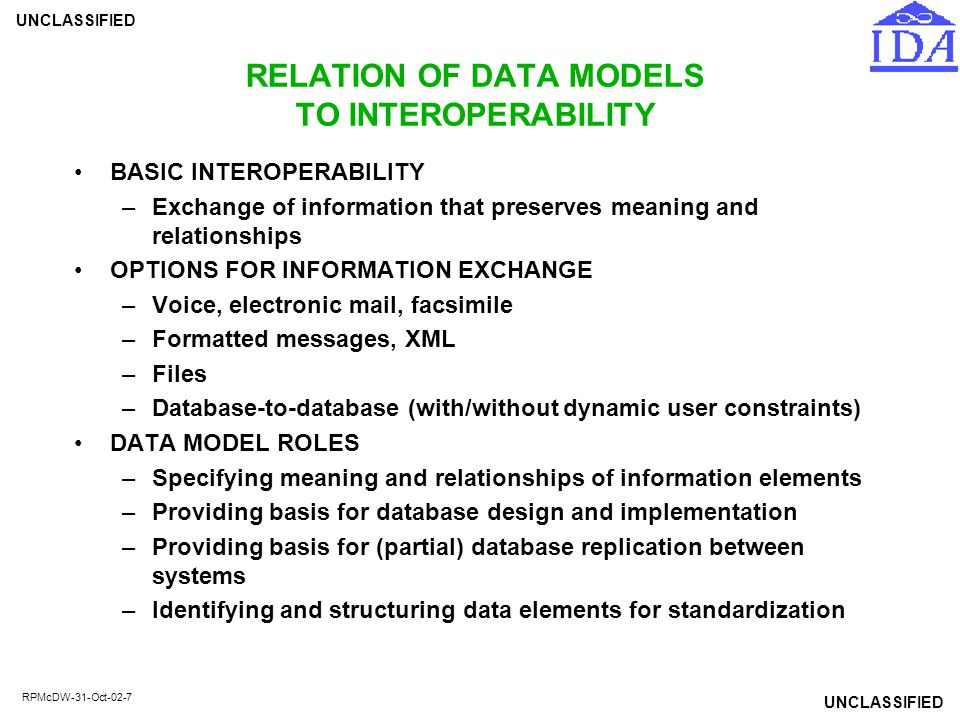 UNCLASSIFIED RPMcDW-31-Oct-02-7 RELATION OF DATA MODELS TO INTEROPERABILITY BASIC INTEROPERABILITY –Exchange of information that preserves meaning and