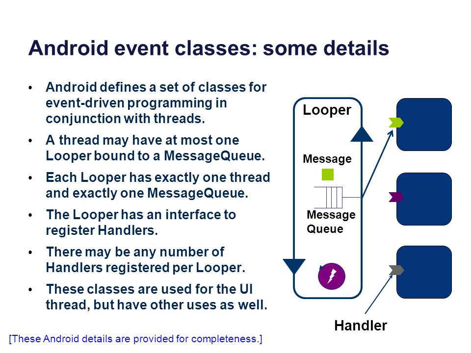 Android event classes: some details Android defines a set of classes for event-driven programming in conjunction with threads.