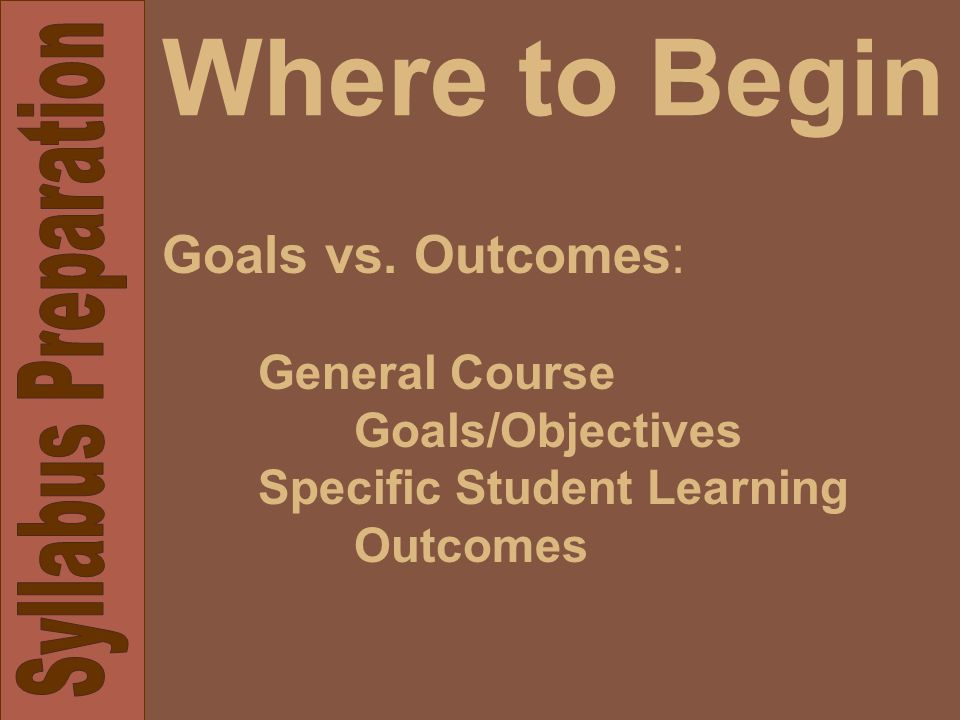 Where to Begin Goals vs. Outcomes: General Course Goals/Objectives Specific Student Learning Outcomes