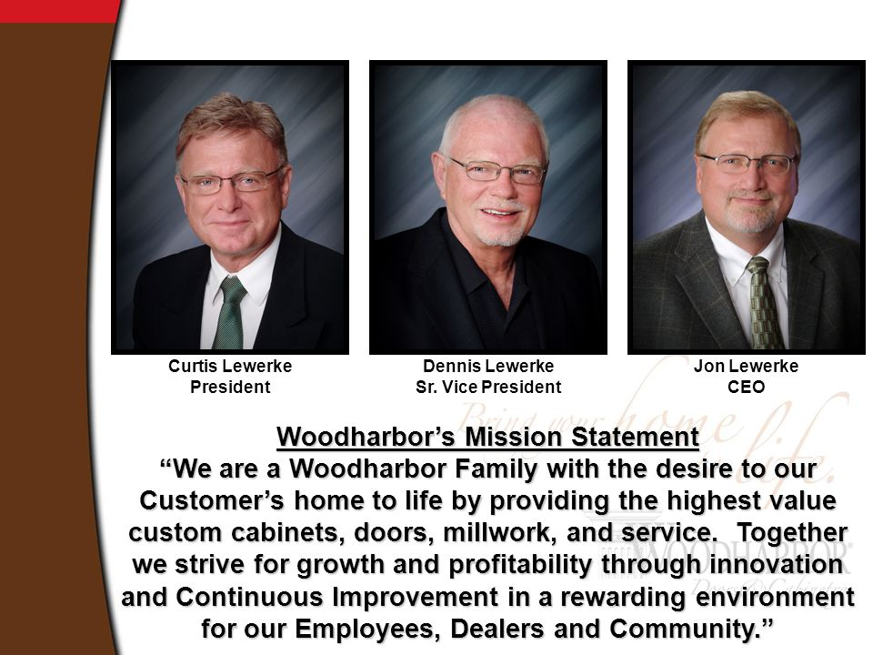 Woodharbor's Mission Statement We are a Woodharbor Family with the desire to our Customer's home to life by providing the highest value custom cabinets, doors, millwork, and service.