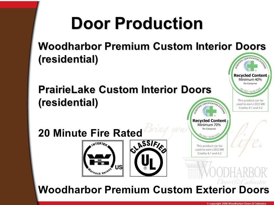 Woodharbor Premium Custom Interior Doors (residential) PrairieLake Custom Interior Doors (residential) 20 Minute Fire Rated Woodharbor Premium Custom Exterior Doors Door Production