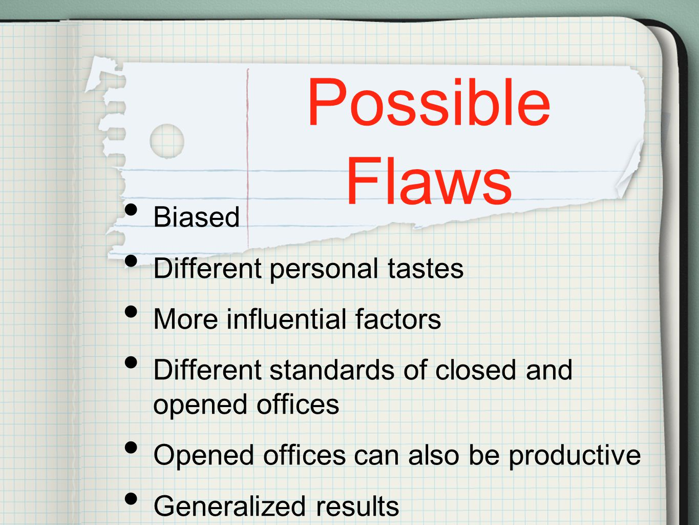 Possible Flaws Biased Different personal tastes More influential factors Different standards of closed and opened offices Opened offices can also be productive Generalized results