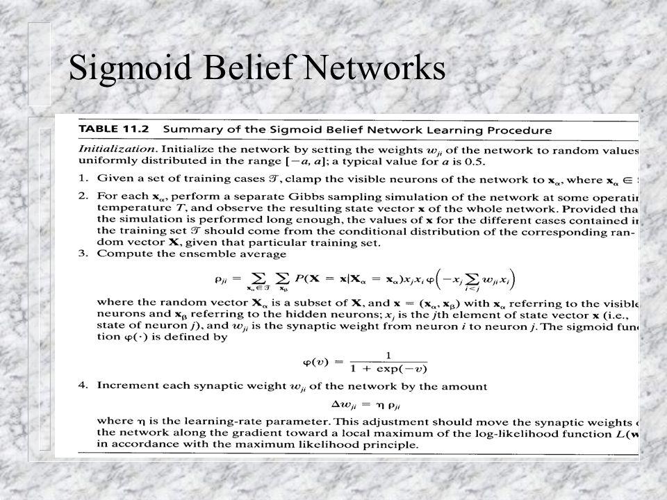 Sigmoid Belief Networks n table 11.2