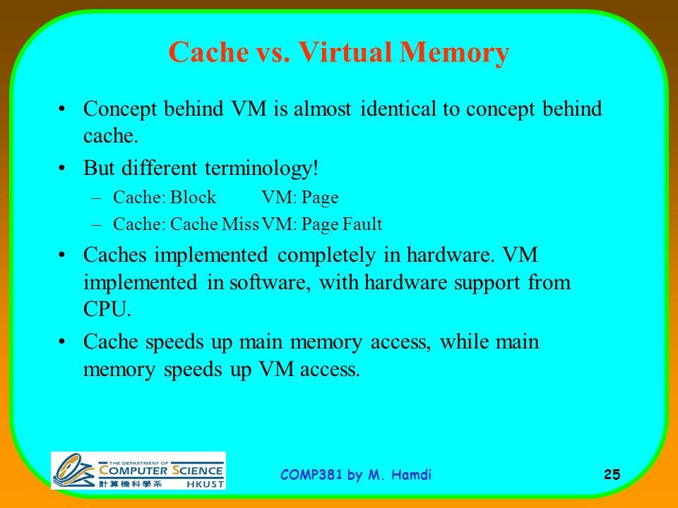 COMP381 by M. Hamdi 25 Cache vs.