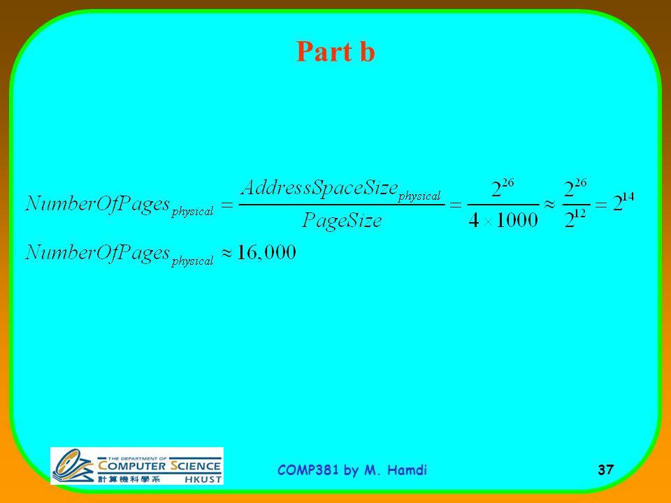 COMP381 by M. Hamdi 37 Part b