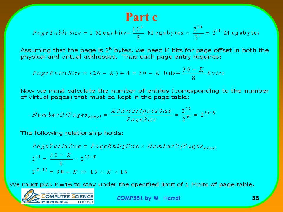 COMP381 by M. Hamdi 38 Part c