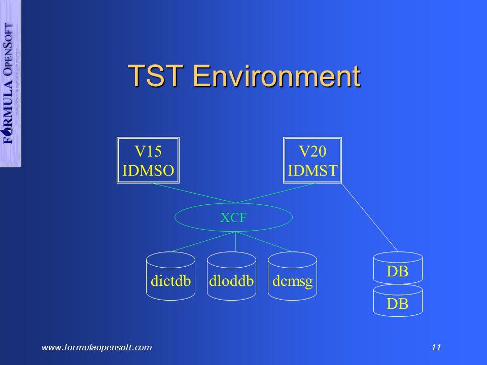 www.formulaopensoft.com10 TST Environment V15 IDMSO dictdb V20 IDMST dloddbdcmsg DB