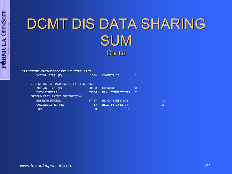 www.formulaopensoft.com30 DCMT DIS DATA SHARING SUM Display summary information about the system's data sharing group.