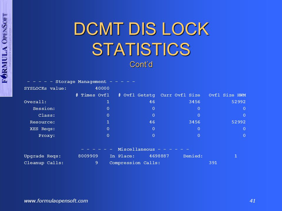 www.formulaopensoft.com40 DCMT DIS LOCK STATISTICS Cont'd - - - - Notify/Longterm Stats - - - - Notify Longterm Share Longterm Update Acquired 13185221 0 0 Held 0 0 0 Global DBMS Activity Notifications Out In Dbkey 0 0 Area 0 0 - - - - - Proxy Management - - - - - Created Freed Reused Stolen 20003 1470 2654763 2169628