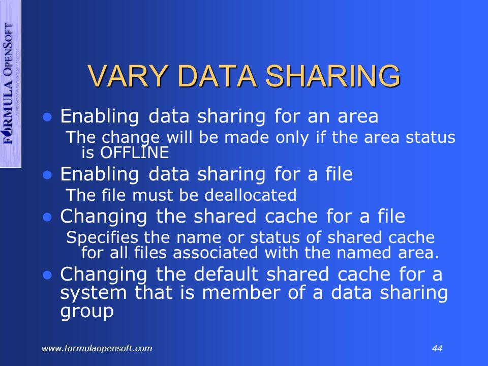 www.formulaopensoft.com43 LSTSHARE V16 ENTER NEXT TASK CODE(PRD/IDMSP): lstshare sh Segment Areaname Filename Pg LowPage #Pages Psize Asiz S T Shared -------- ------------------ -------- -- -------- -------- ----- ---- - - Cache ESPPSGC1.AR-ESPPFFT SYS00239 56 9970001 20055 7548 151M U I SID..