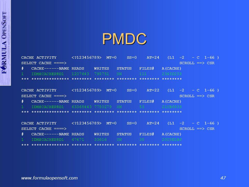 www.formulaopensoft.com46 DCMT VARY DATA SHARING Cont'd DCMT VARY AREA ESPPSGC2.AR-PICXXXX OFFLINE Segment Areaname Filename Pg LowPage #Pages Psize Asiz S T Shared -------- ------------------ -------- -- -------- -------- ----- ---- - - Cache ESPPSGC2.AR-PICXXXX SYS00010 56 1788001 42000 7548 317M O I S.DG.
