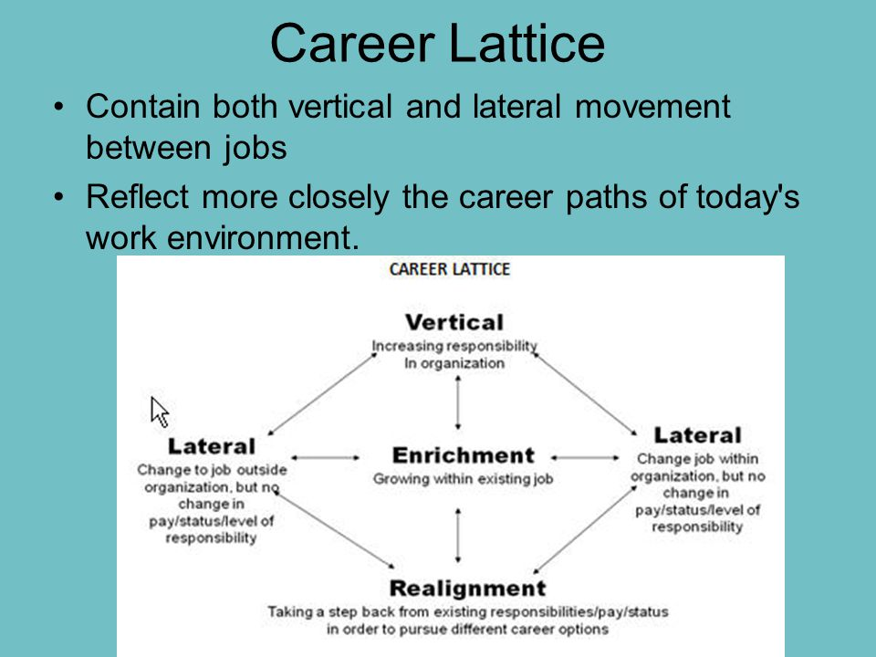 Career Lattice Contain both vertical and lateral movement between jobs Reflect more closely the career paths of today s work environment.