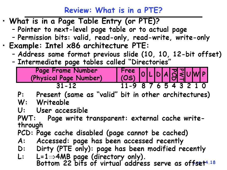 Lec 14.18 Review: What is in a PTE? What is in a Page Table Entry (or PTE)? –Pointer to next-level page table or to actual page –Permission bits: vali