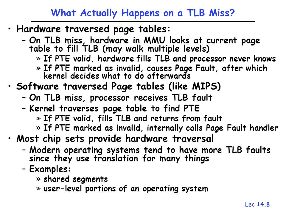 Lec 14.8 What Actually Happens on a TLB Miss? Hardware traversed page tables: –On TLB miss, hardware in MMU looks at current page table to fill TLB (m